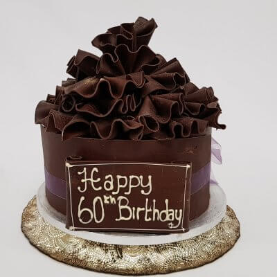 Chocolate Frill Cake with Personalised Chocolate Plaque